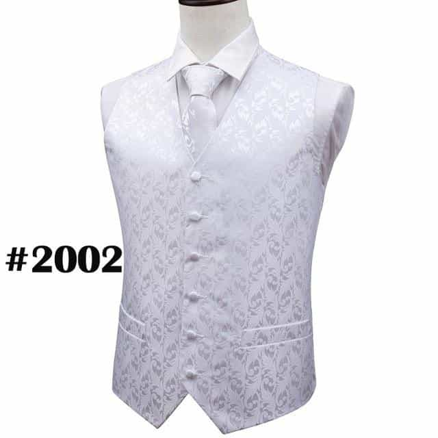 Mens Tie Classic Red Paisley Jacquard Silk Waistcoat Vests, MJ-2002 / M, MJ-2002, M, [option3] - anythinganyware