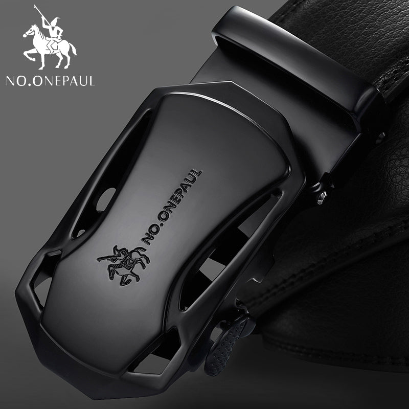 Fashion Automatic Buckle Black Genuine Leather Belt, [variant_title], [option1], [option2], [option3] - anythinganyware