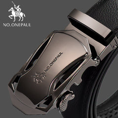 Fashion Automatic Buckle Black Genuine Leather Belt, CD / 110CM, CD, 110CM, [option3] - anythinganyware