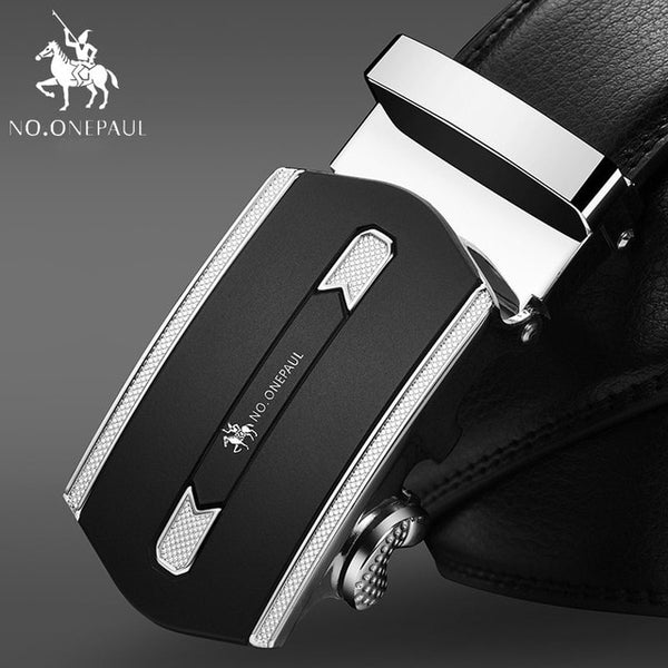 Fashion Automatic Buckle Black Genuine Leather Belt, SA Silver / 115CM, SA Silver, 115CM, [option3] - anythinganyware