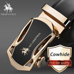Fashion Automatic Buckle Black Genuine Leather Belt, CC Gold / 105CM, CC Gold, 105CM, [option3] - anythinganyware