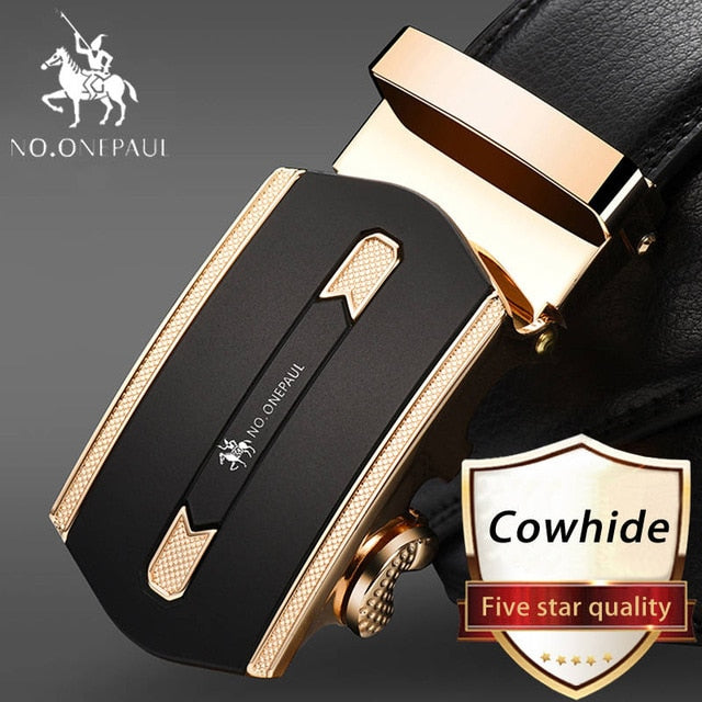 Fashion Automatic Buckle Black Genuine Leather Belt, SA Gold / 100cm, SA Gold, 100cm, [option3] - anythinganyware