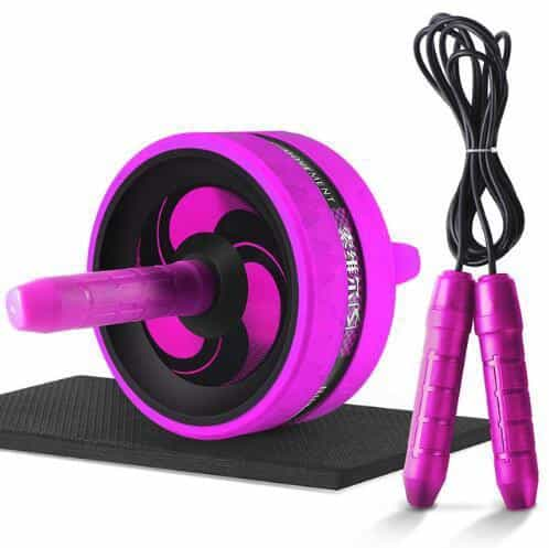New 2 in 1 Ab Roller&Jump Rope No Noise Abdominal Wheel, Purple with Rope, Purple with Rope, [option2], [option3] - anythinganyware