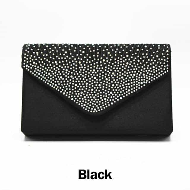 Envelop Satin Party Evening Bridal Bag, Black, Black, [option2], [option3] - anythinganyware