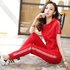 Slim Hooded Tops Sweatshirt+Solid Long Pants 2 Pieces Sets, red short sleeve / M, red short sleeve, M, [option3] - anythinganyware