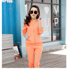 Slim Hooded Tops Sweatshirt+Solid Long Pants 2 Pieces Sets, [variant_title], [option1], [option2], [option3] - anythinganyware