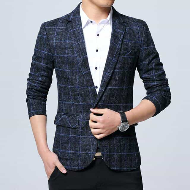 Male Slim Fat Business Casual Blazer Coat Men, Blue / M, Blue, M, [option3] - anythinganyware
