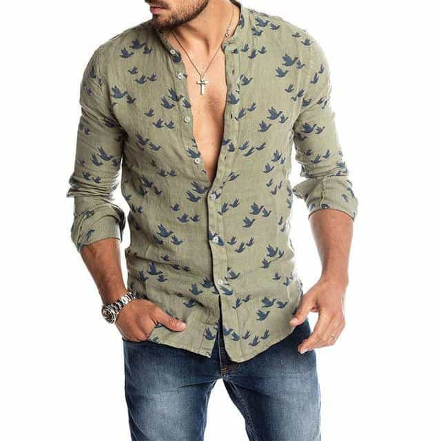 Mens Fashion Casual Duck Printed Shirts, Green / XXL, Green, XXL, [option3] - anythinganyware