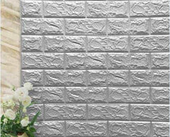 PE Foam 3D Stone Brick Panel Wall Sticker, Silver gray, Silver gray, [option2], [option3] - anythinganyware