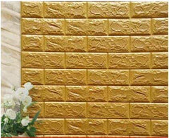 PE Foam 3D Stone Brick Panel Wall Sticker, Gold, Gold, [option2], [option3] - anythinganyware