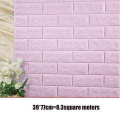 PE Foam 3D Stone Brick Panel Wall Sticker, Light Purple, Light Purple, [option2], [option3] - anythinganyware