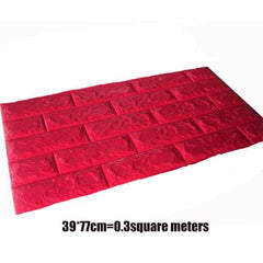 PE Foam 3D Stone Brick Panel Wall Sticker, Red, Red, [option2], [option3] - anythinganyware
