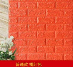 PE Foam 3D Stone Brick Panel Wall Sticker, Orange, Orange, [option2], [option3] - anythinganyware