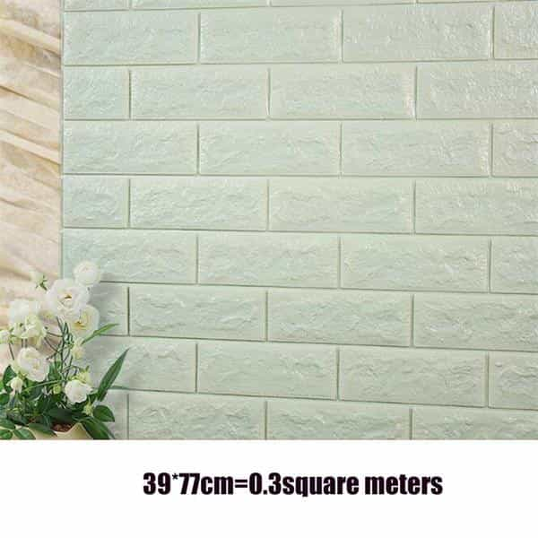 PE Foam 3D Stone Brick Panel Wall Sticker, Light Blue, Light Blue, [option2], [option3] - anythinganyware