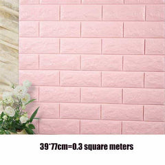 PE Foam 3D Stone Brick Panel Wall Sticker, Light Pink, Light Pink, [option2], [option3] - anythinganyware