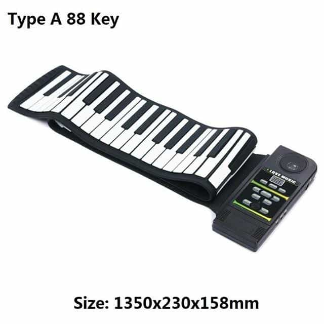 Portable 88 Keys / 49 Keys Flexible Silicone Roll Up Piano, Type A 88 Key, Type A 88 Key, [option2], [option3] - anythinganyware