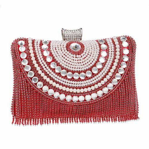 Rhinestones Tassel Clutch Diamonds Beaded Metal Evening Bags, YM1074red, YM1074red, [option2], [option3] - anythinganyware