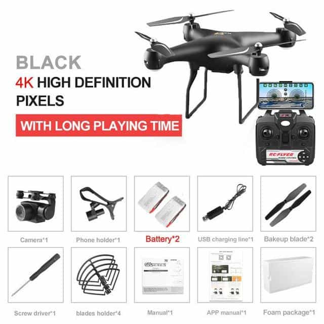 Professional Drone with Rotating ESC Camera, Black 4K 2B Foam, Black 4K 2B Foam, [option2], [option3] - anythinganyware