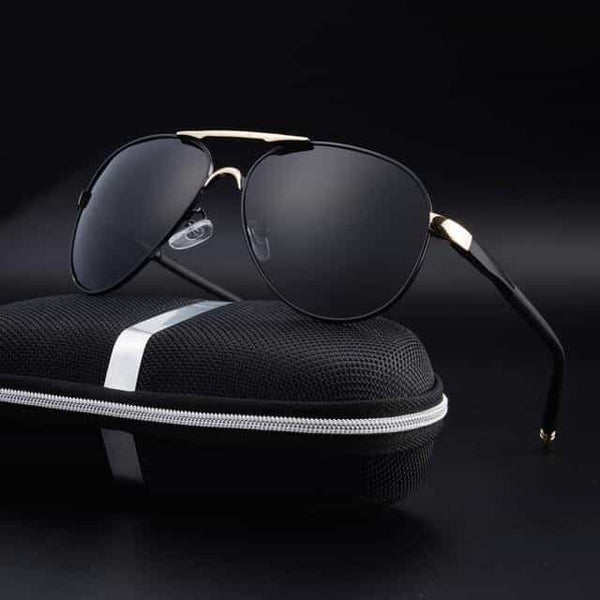 Polarized Sunglasses Men, Black Gold with box / China, Black Gold with box, China, [option3] - anythinganyware