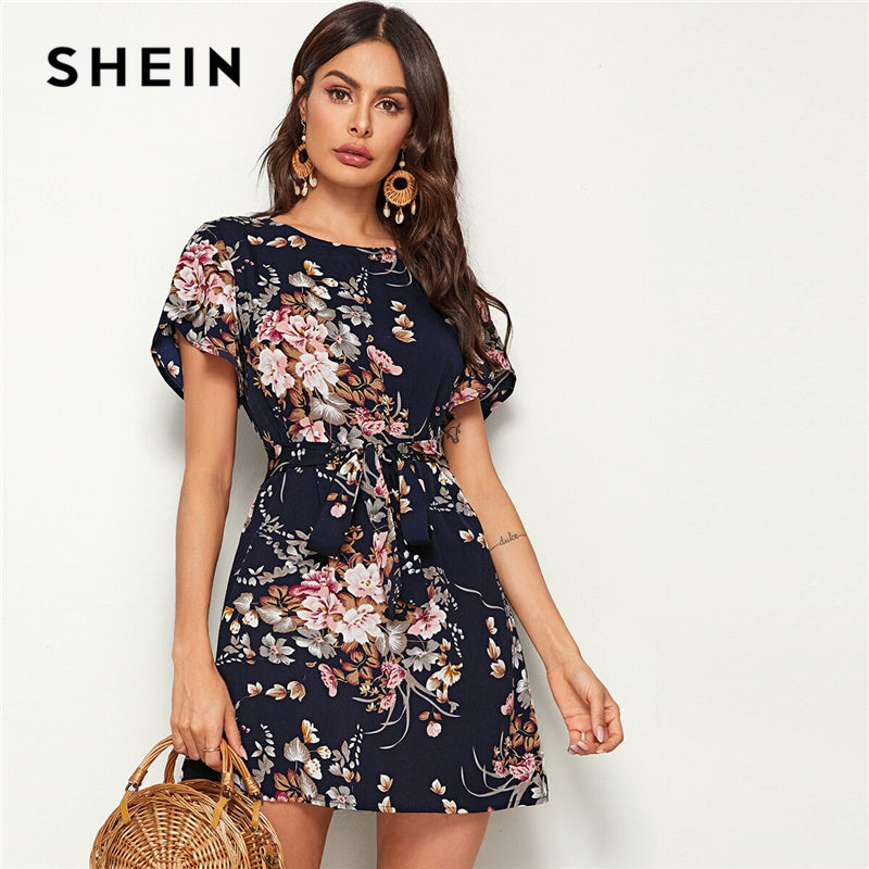 Navy Floral Print Petal Sleeve Belted Tunic Shift Dress, [variant_title], [option1], [option2], [option3] - anythinganyware