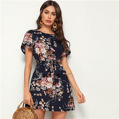 Navy Floral Print Petal Sleeve Belted Tunic Shift Dress, Blue / XS, Blue, XS, [option3] - anythinganyware
