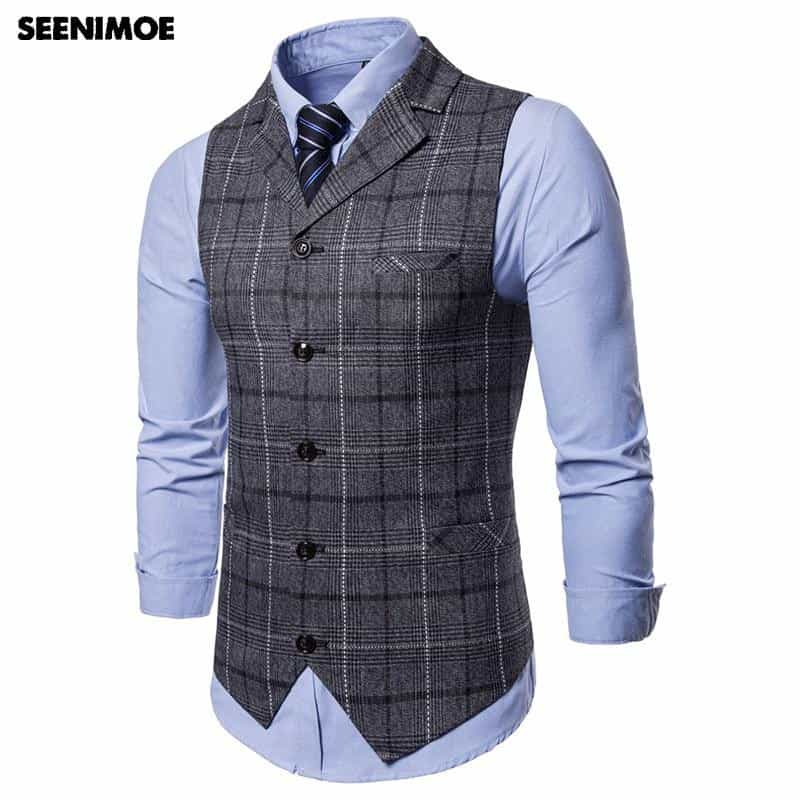 Mens Stripe Plaid Formal Blazer vests, [variant_title], [option1], [option2], [option3] - anythinganyware