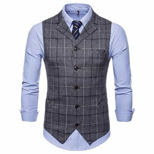 Mens Stripe Plaid Formal Blazer vests, MV28GR / 4XL, MV28GR, 4XL, [option3] - anythinganyware