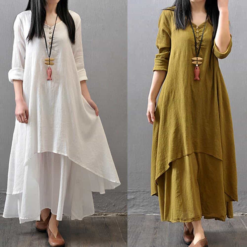 Spring Summer Women Long Cotton Linen Dress, [variant_title], [option1], [option2], [option3] - anythinganyware