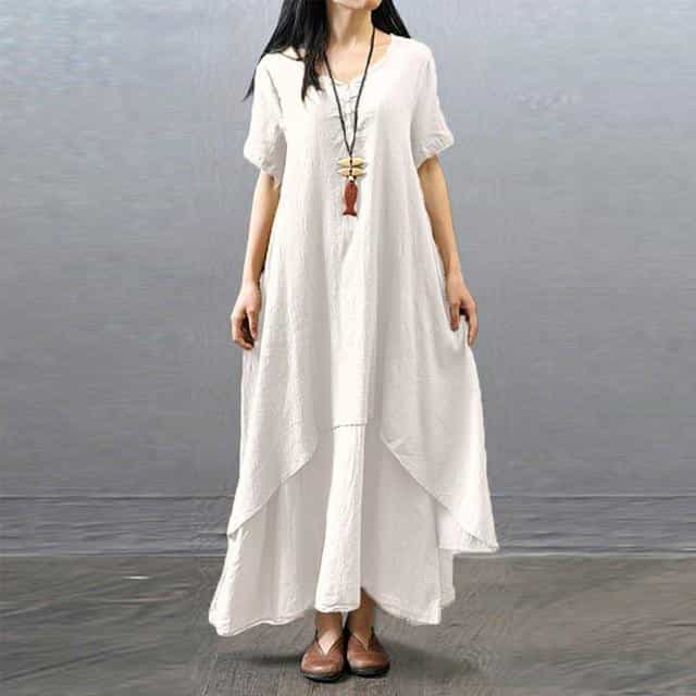Spring Summer Women Long Cotton Linen Dress, Short Sleeve White / L, Short Sleeve White, L, [option3] - anythinganyware