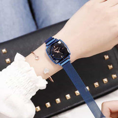Square Women Wrist Watches, mesh blue, mesh blue, [option2], [option3] - anythinganyware
