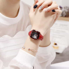 Square Women Wrist Watches, leather red, leather red, [option2], [option3] - anythinganyware