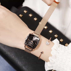 Square Women Wrist Watches, mesh rose gold, mesh rose gold, [option2], [option3] - anythinganyware