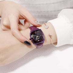 Square Women Wrist Watches, leather purple, leather purple, [option2], [option3] - anythinganyware