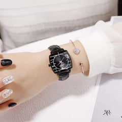 Square Women Wrist Watches, leather black, leather black, [option2], [option3] - anythinganyware