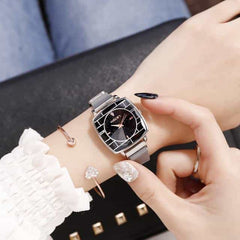 Square Women Wrist Watches, mesh silver, mesh silver, [option2], [option3] - anythinganyware