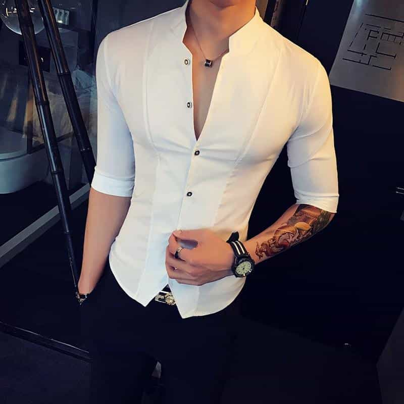 Stand Collar Chinese Style Shirt Men Slim Fit, [variant_title], [option1], [option2], [option3] - anythinganyware