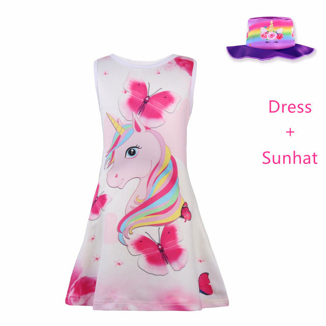 Summer Butterfly Girls Unicorn Dress, 2Pcs-E / 6, 2Pcs-E, 6, [option3] - anythinganyware