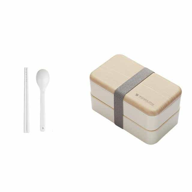 Microwave Double Layer Lunch Box 1200ml, White / China, White, China, [option3] - anythinganyware