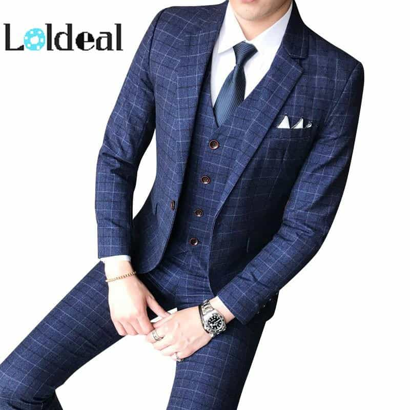 Three-piece Male Formal Business Plaids Suit, [variant_title], [option1], [option2], [option3] - anythinganyware