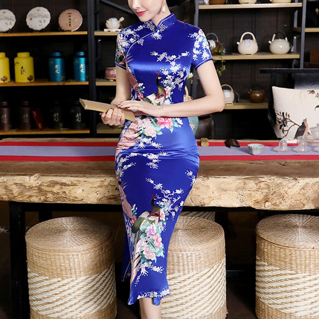 Vintage Dress Short Sleeve Qipao Evening Party, Blue / XL, Blue, XL, [option3] - anythinganyware