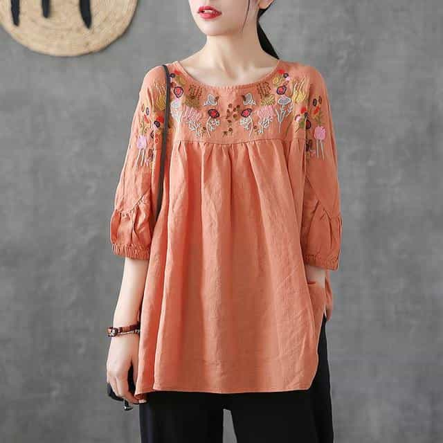 Vintage Floral Embroidery Blouse Women, Orange / XXL, Orange, XXL, [option3] - anythinganyware