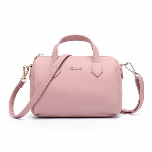 Mini Boston Shoulder Bag  Leather, Dk Pink, Dk Pink, [option2], [option3] - anythinganyware