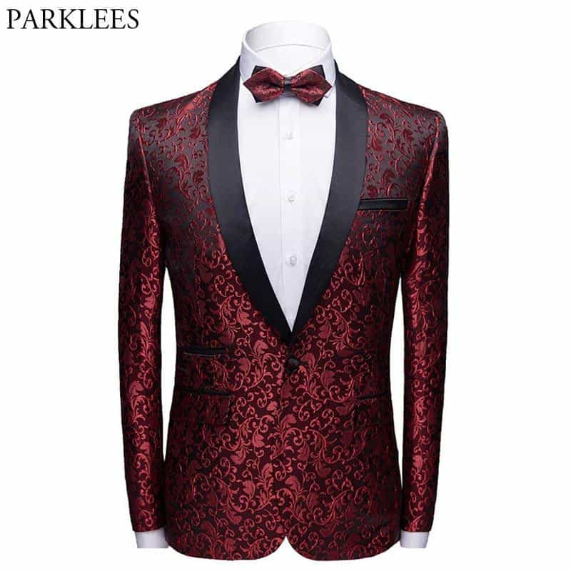 Wine Red Floral Jacquard One Button Suit Jacket, [variant_title], [option1], [option2], [option3] - anythinganyware