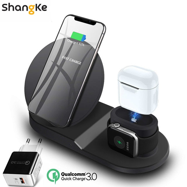 Wireless Charger Stand for iPhone AirPods Apple Watch,, Black EU plug, Black EU plug, [option2], [option3] - anythinganyware