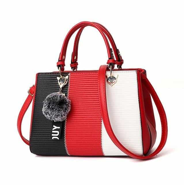 Women Hairball Ornaments Totes Patchwork Handbag, Red / 29x14x20cm, Red, 29x14x20cm, [option3] - anythinganyware