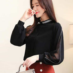 Women chiffon blouse, Black / XXL, Black, XXL, [option3] - anythinganyware