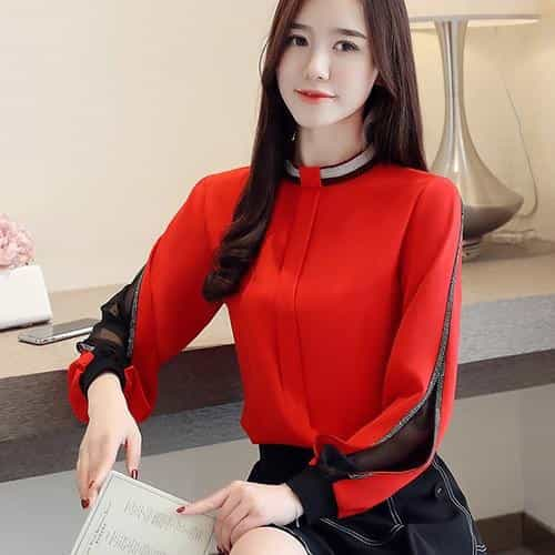 Women chiffon blouse, Red / XL, Red, XL, [option3] - anythinganyware