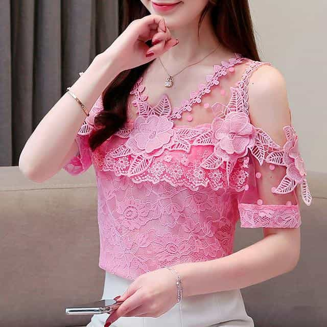 2019 Summer New  Blouses Shirts, Pink / S, Pink, S, [option3] - anythinganyware