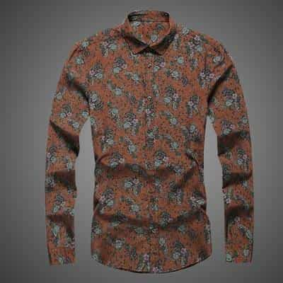 new fashion flower printed long sleeve shirts, Orange / XXL, Orange, XXL, [option3] - anythinganyware