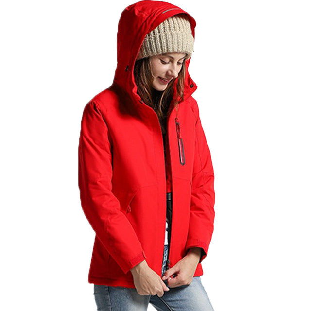 Women's USB Infrared Heated Jacket with hood.